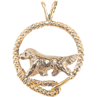 Solid 14K Gold Golden Retriever Leash Pendant