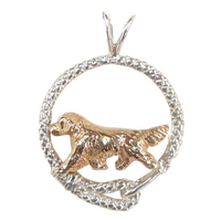 Solid 14K Gold Golden Retriever in Sterling Silver Leash Pendant