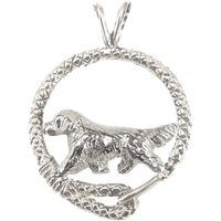 Golden Retriever in Solid Sterling Silver Leash Pendant