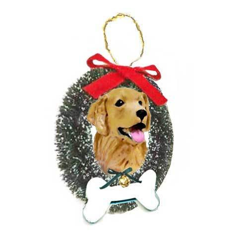 Golden Retriever Wreath and Bone Ornament