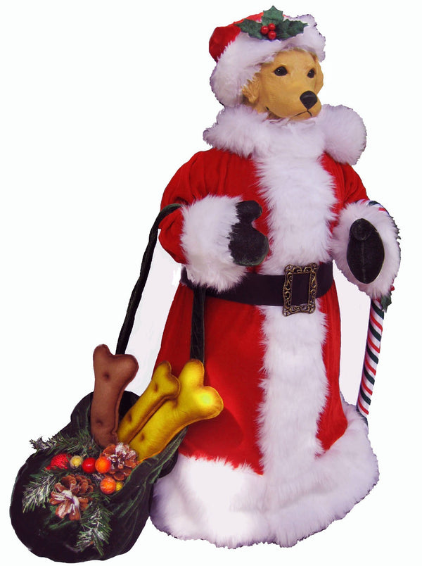 Golden Retriever Large Santa Statue
