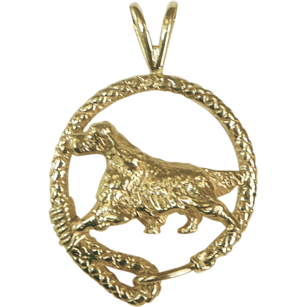 Solid 14K Gold Gordon Setter Leash Pendant