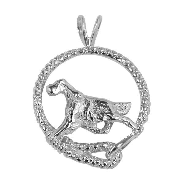 Gordon Setter in Solid Sterling Silver Leash Pendant
