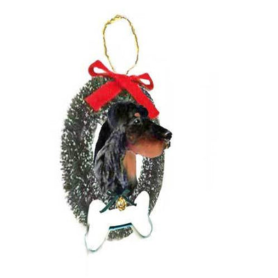 Gordon Setter Wreath and Bone Ornament