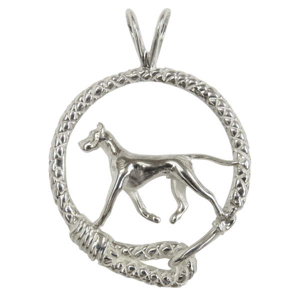 Great Dane in Solid Sterling Silver Leash Pendant