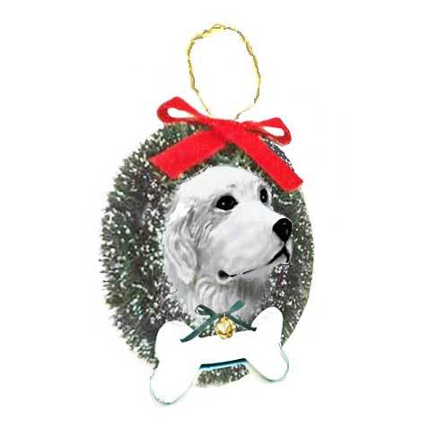 Great Pyrenees Wreath and Bone Ornament
