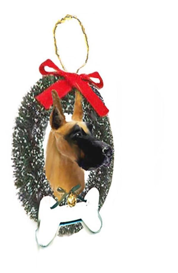 Great Dane Wreath and Bone Ornament