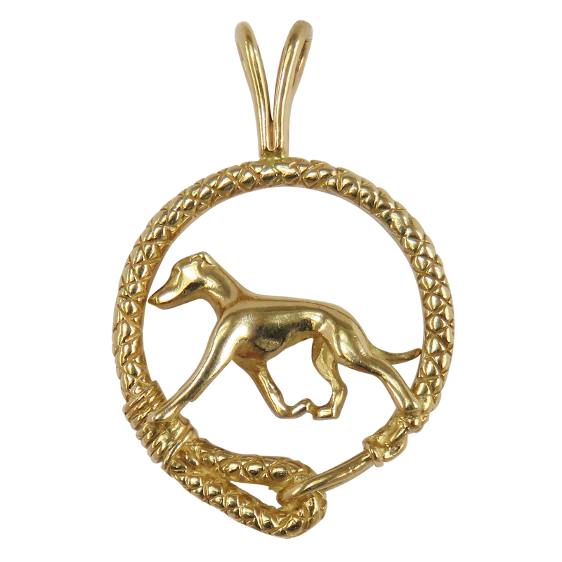 Solid 14K Gold Greyhound Leash Pendant