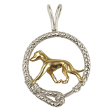 Solid 14K Gold Greyhound in Sterling Silver Leash Pendant