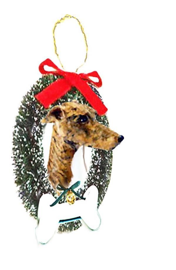 Greyhound Wreath and Bone Ornament