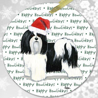"Havanese, Black and White ""Happy Howlidays"" Ornament"