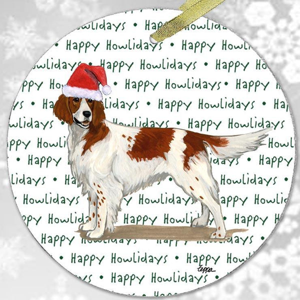 "Irish Red and White Setter ""Happy Howlidays"" Ornament"