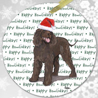 "Irish Water Spaniel ""Happy Howlidays"" Ornament"