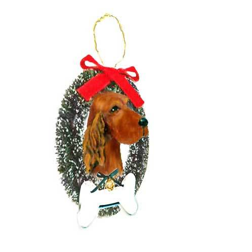Irish Setter Wreath and Bone Ornament