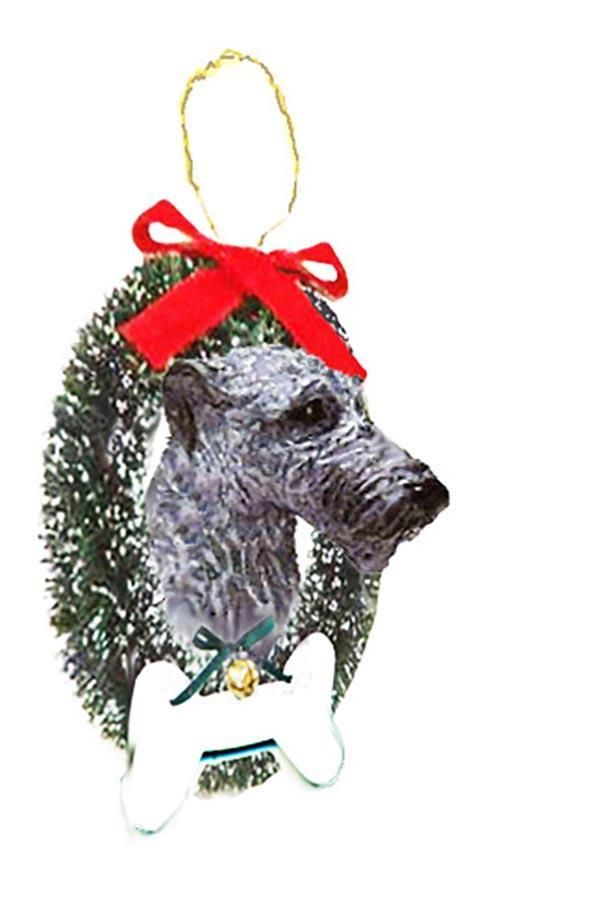 Irish Wolfhound Wreath and Bone Ornament