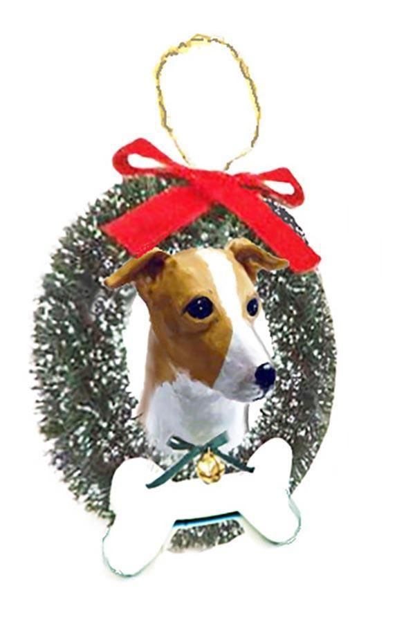 Italian Greyhound Wreath and Bone Ornament