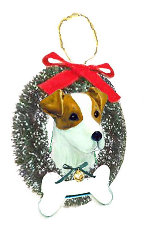 Russell Terrier Wreath and Bone Ornament