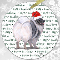 "Keeshond ""Happy Howlidays"" Ornament"
