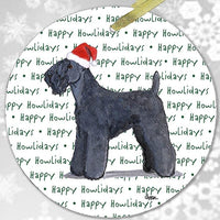 "Kerry Blue Terrier ""Happy Howlidays"" Ornament"