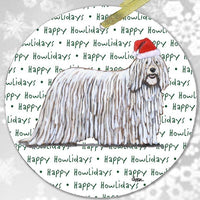 "Komondor ""Happy Howlidays"" Ornament"