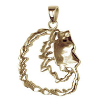 Keeshond 14K Gold Cut Out Pendant