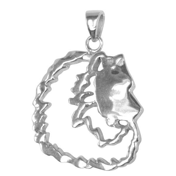 Keeshond Sterling Silver Cut Out Pendants
