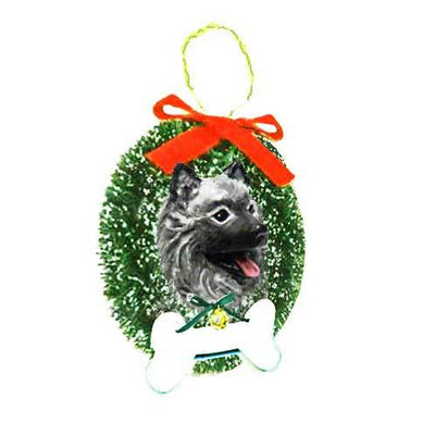 Keeshond Wreath and Bone Ornament