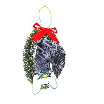 Kerry Blue Terrier Wreath and Bone Ornament