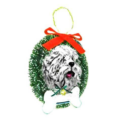 Komondor Wreath and Bone Ornament