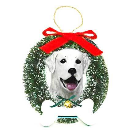 Kuvasz Wreath and Bone Ornament