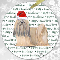 "Lhasa Apso ""Happy Howlidays"" Ornament"