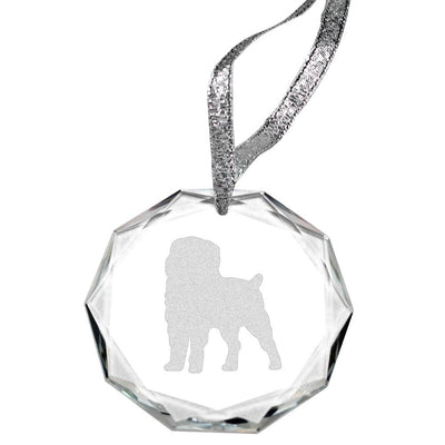 Affenpinscher Laser Engraved Round Facet Crystal Ornament
