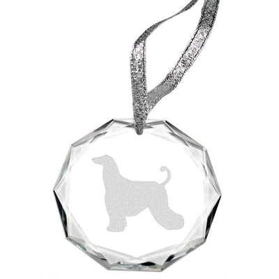 Afghan Hound Laser Engraved Round Facet Crystal Ornament