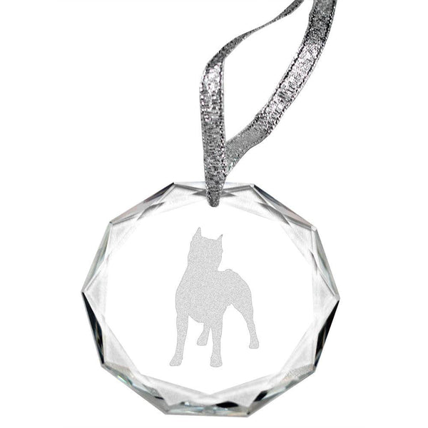 American Staffordshire Terrier Laser Engraved Round Facet Crystal Ornament