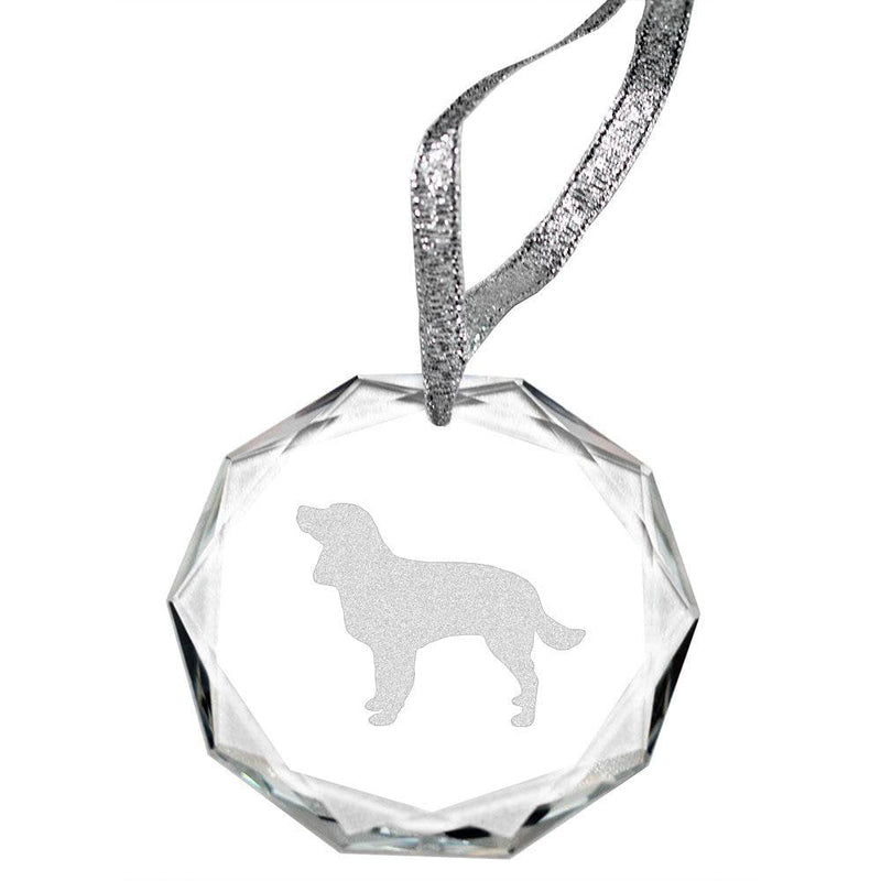 American Water Spaniel Laser Engraved Round Facet Crystal Ornament