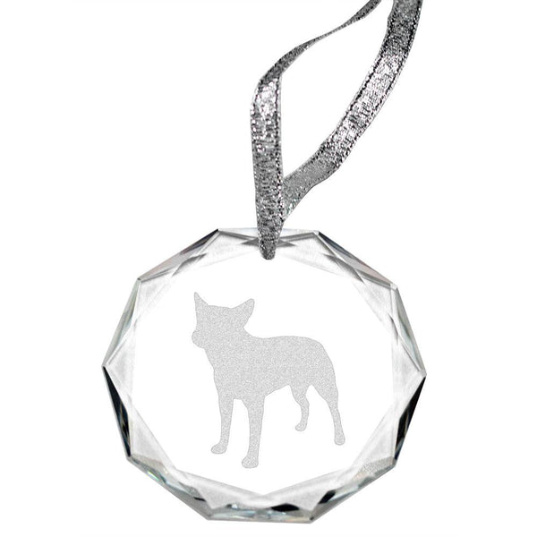 Australian Cattle Dog Laser Engraved Round Facet Crystal Ornament