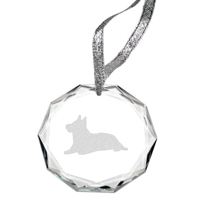 Australian Terrier Laser Engraved Round Facet Crystal Ornament