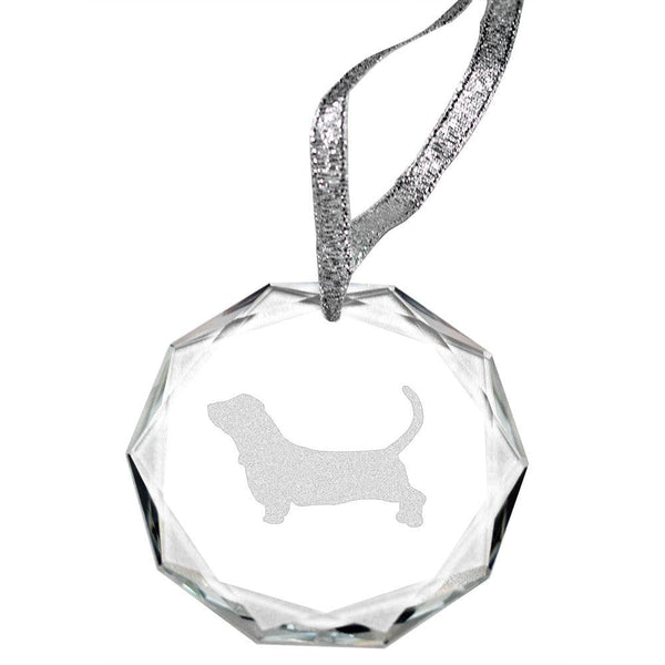 Basset Hound Laser Engraved Round Facet Crystal Ornament