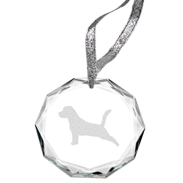 Beagle Laser Engraved Round Facet Crystal Ornament