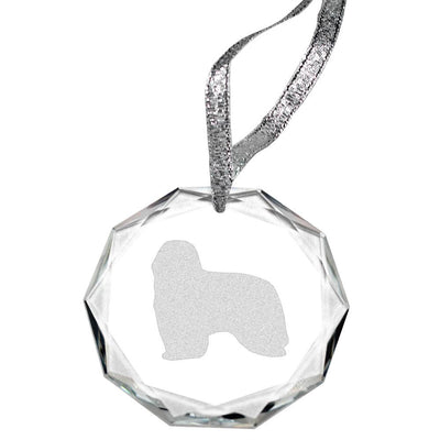 Bearded Collie Laser Engraved Round Facet Crystal Ornament