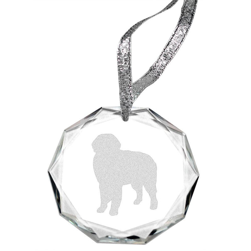Bernese Mountain Dog Laser Engraved Round Facet Crystal Ornament
