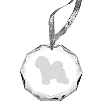 Bichon Frise Laser Engraved Round Facet Crystal Ornament