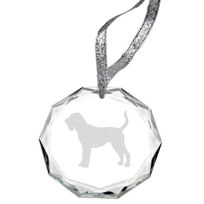 Black and Tan Coonhound Laser Engraved Round Facet Crystal Ornament