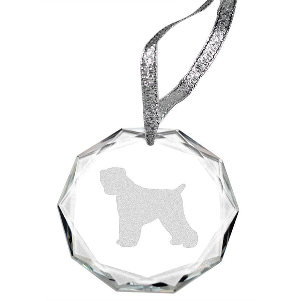 Black Russian Terrier Laser Engraved Round Facet Crystal Ornament