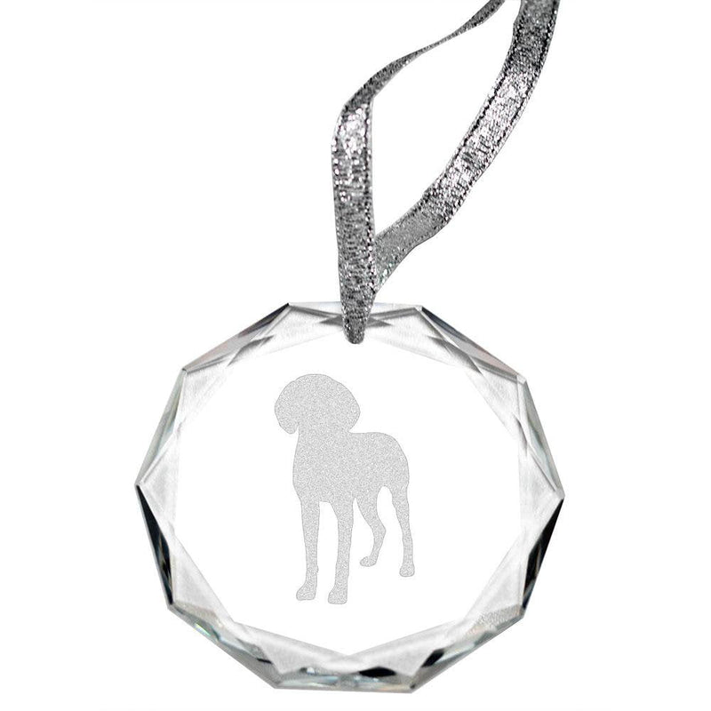 Bluetick Coonhound Laser Engraved Round Facet Crystal Ornament