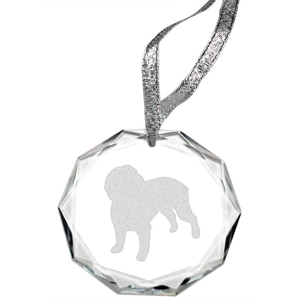 Boykin Spaniel Laser Engraved Round Facet Crystal Ornament