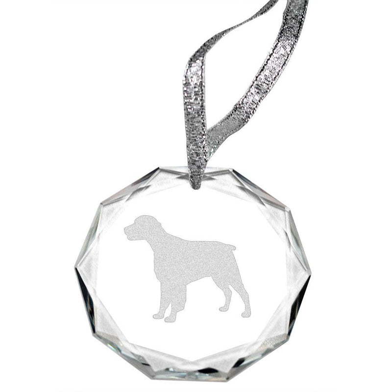 Brittany Laser Engraved Round Facet Crystal Ornament