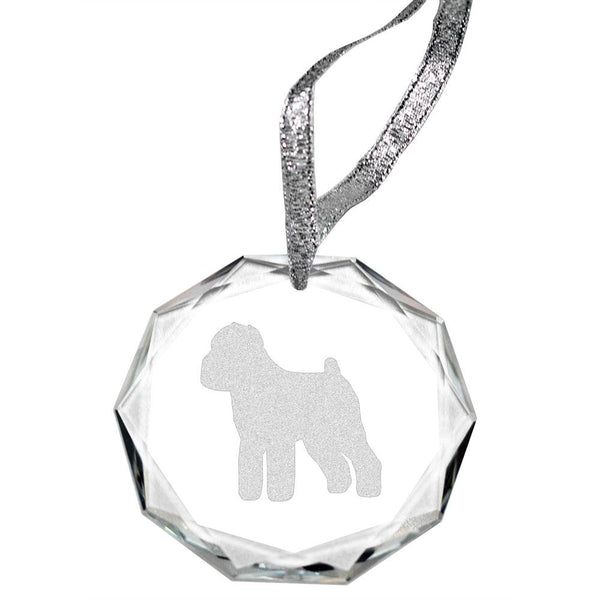 Brussels Griffon Laser Engraved Round Facet Crystal Ornament