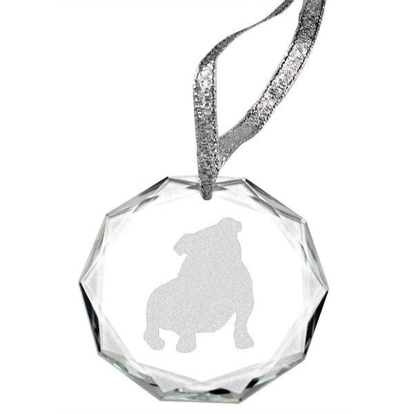 Bulldog Laser Engraved Round Facet Crystal Ornament