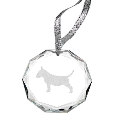 Bull Terrier Laser Engraved Round Facet Crystal Ornament